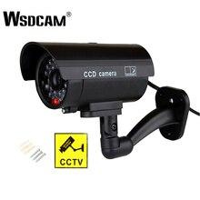 Wsdcam à prova dfake água manequim falso cctv câmera com led piscando para exterior ou interior realista olhando falsa câmera para segurança