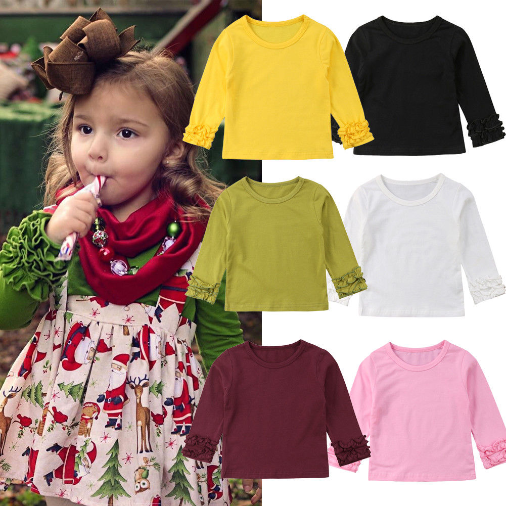Pudcoco Girl T-Shirt Puff-Sleeve Tops Toddler Baby Kids Casual Infant Outfits