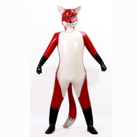 Latex Rubber Overall Hooded Uniform Double layer Catsuit Fox Cosplay Full Body Wetlook Color Unisex Customized Size XXS XXL
