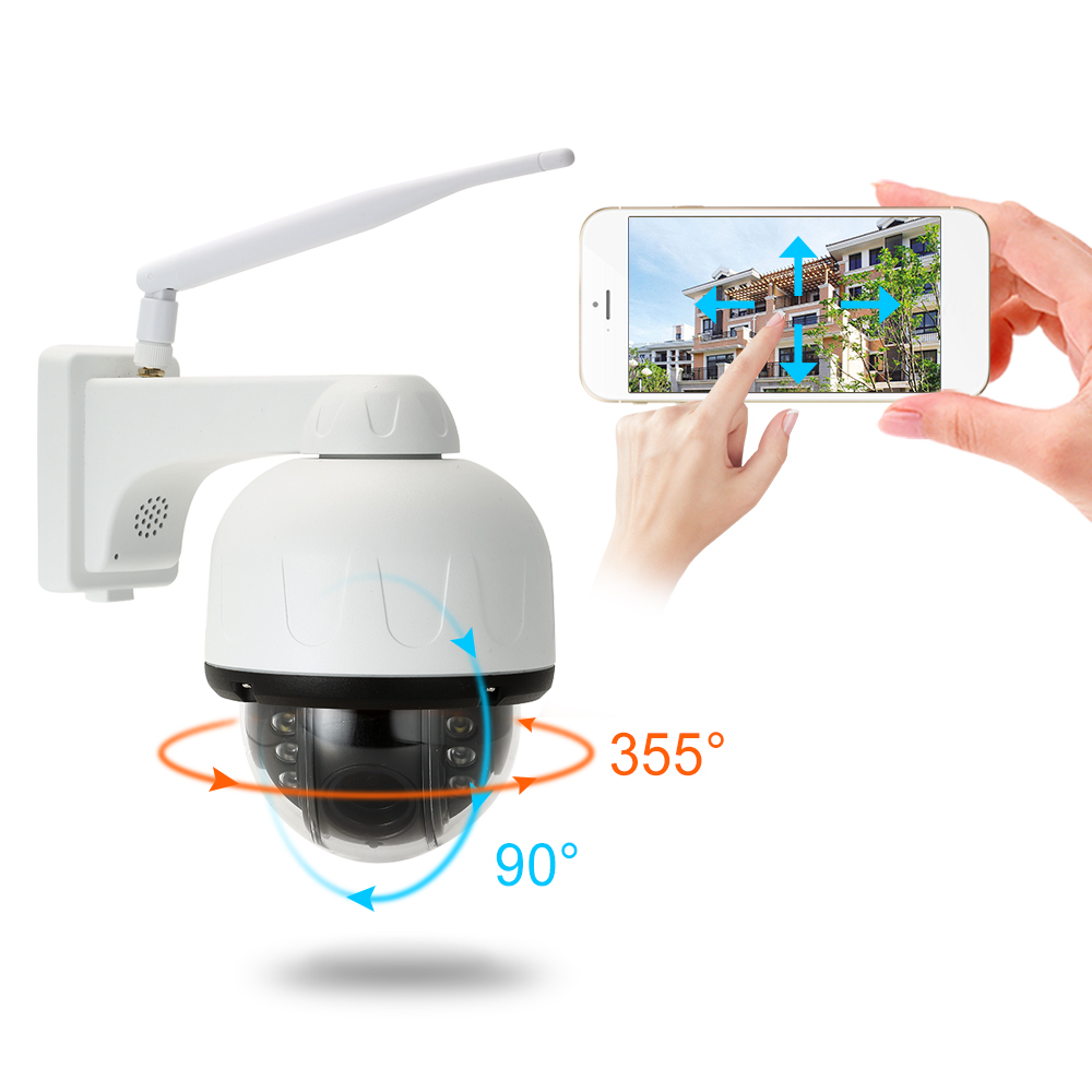 1080P PTZ Wireless WiFi IP Camera 4X 16X Zoom DualLight Source Motion Detection Tracking Outdoor Waterproof