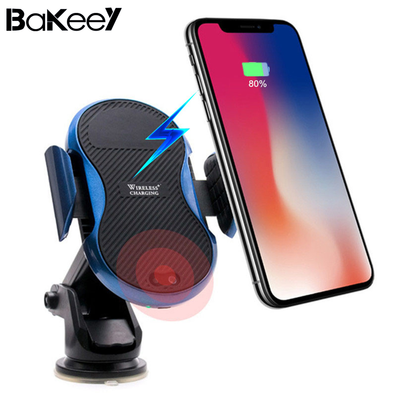 Bakeey Infrared Induction Auto Lock Qi Wireless Fast Charger Suction Cup Car Mount Phone Holder