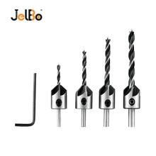 JelBo 1PC Hex Shank + 4PCS 3/4/5/6MM Countersink Drill Bit 5 Flute Chamfer Reamer Tools Drill Bit Set For Woodworking 2 pcs drilling tip spiral flute flat hex shank 6mm x 160mm masonry drill bit