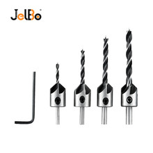 JelBo 4PCS Countersink Drill Bit + 1PC Hex Shank 5 Flute Chamfer Reamer Tool Drill Bit Set For Woodworking (3/4/5/6MM )