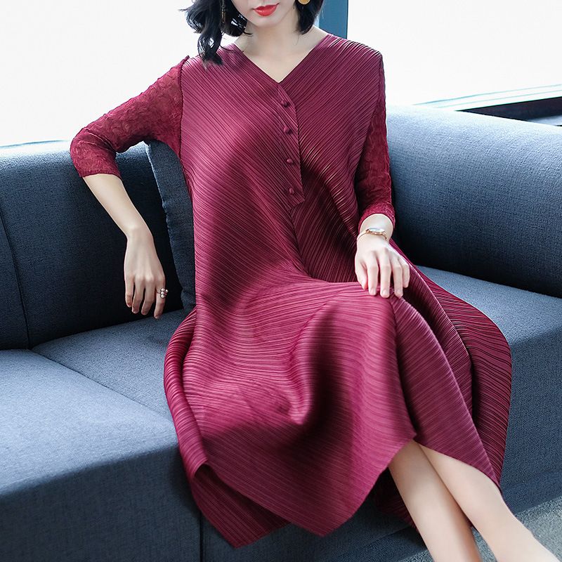DEAT Fashion New V neck Solid Loose 2019 Women Dress Casual Hot Sale Trendy Spring Tide Summer Clothes BF866-in Dresses from Women's Clothing    2