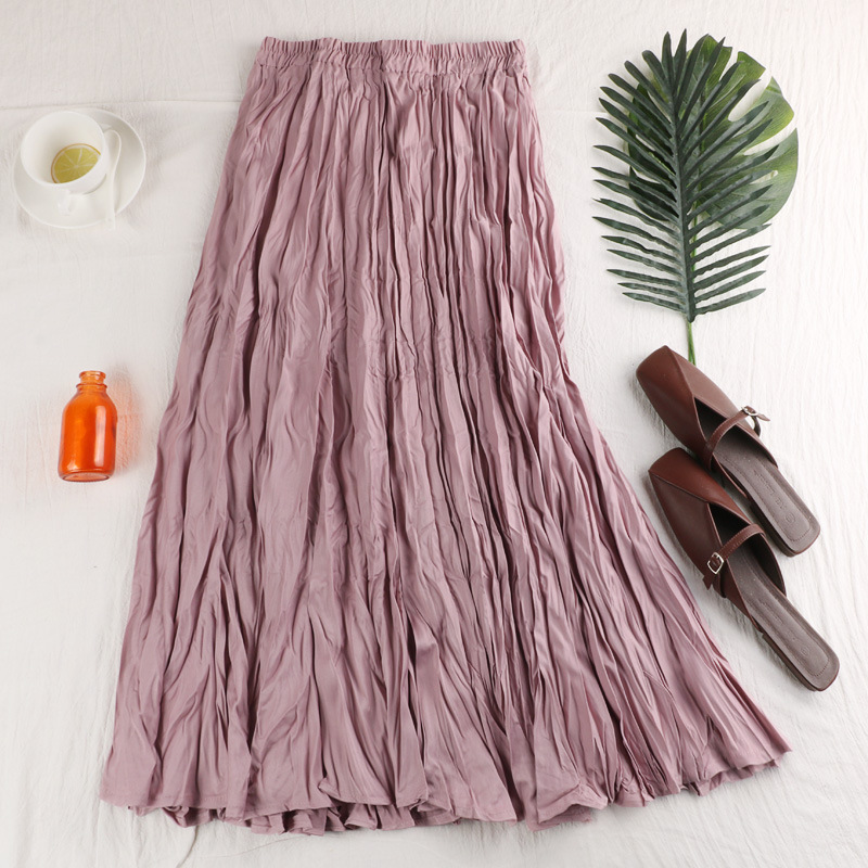 LANMREM Autumn And Winter 2019 New Pattern Clothes For Woemn Elastic High Waist Pleated Skirt All-match Hot Sale Bottoms YG960