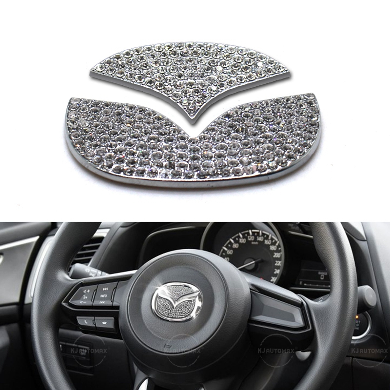 KJAUTOMAX For Mazda 3 6 CX-5 CX-3 CX-7 Steering Wheel Bling Logo Diamond Emblem Sticker