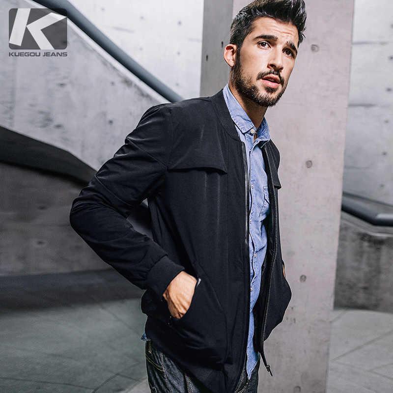 6ea071ec7fa KUEGOU новые осенние мужские модные куртки и пальто с молнией черный Цвет  брендовая одежда для человека