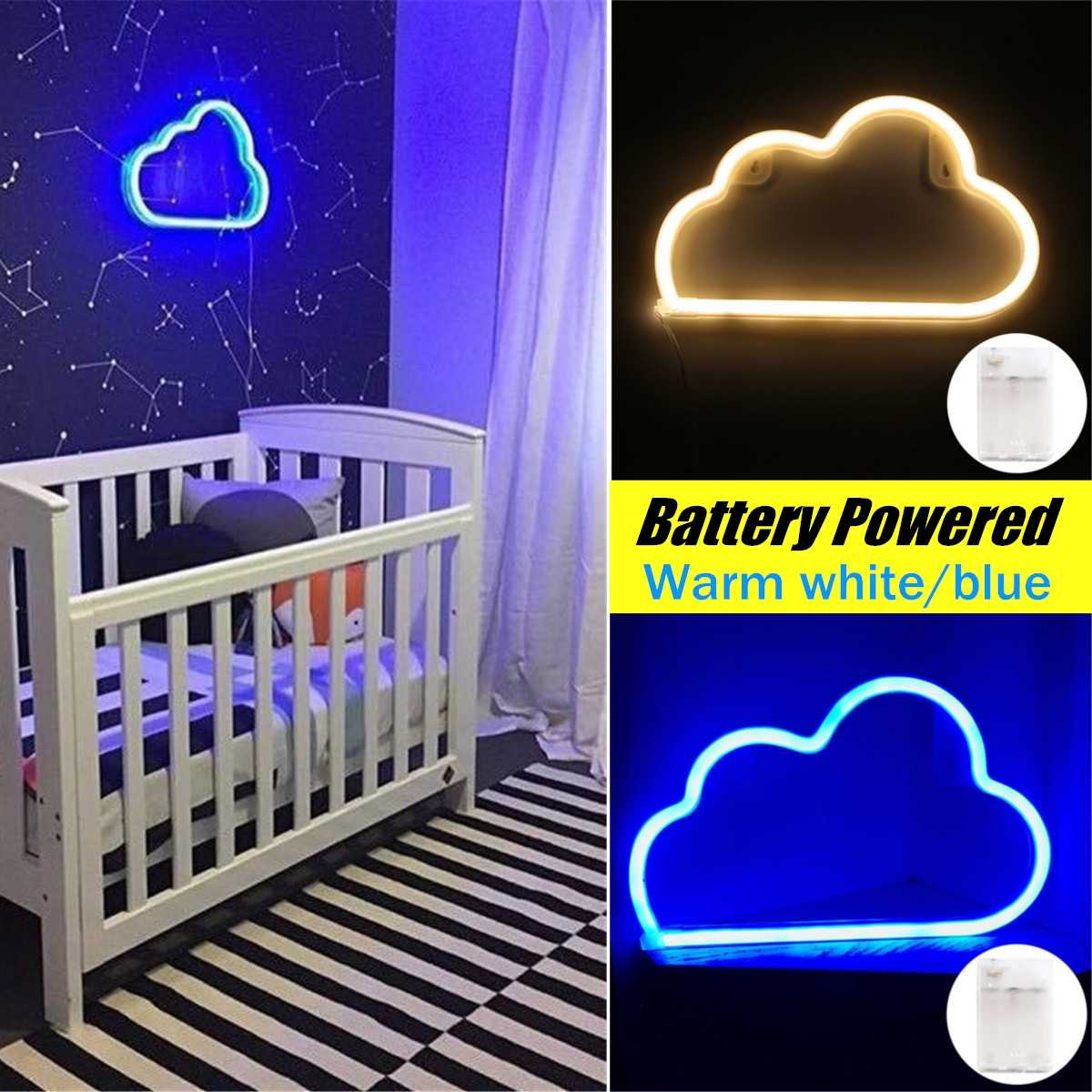 Plastic LED Neon Sign Night Light Cloud Design Wall Lamp Bedroom Bar Ornaments Christmas Party Decoration Holiday Lighting Gifts