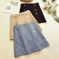 2019 Real Skirt Girls Skirt Front Double Breasted A line Simple Above Knee Mini Length Solid Empire Waist Preppy Style Spring