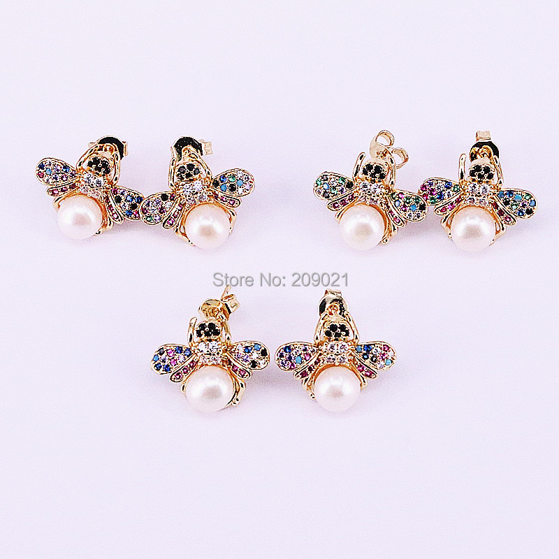 8Pairs Fashion Cubic Zirconia insects shape Pearl Stud Earrings CZ Micro Pave Jewelry Earrings For Women