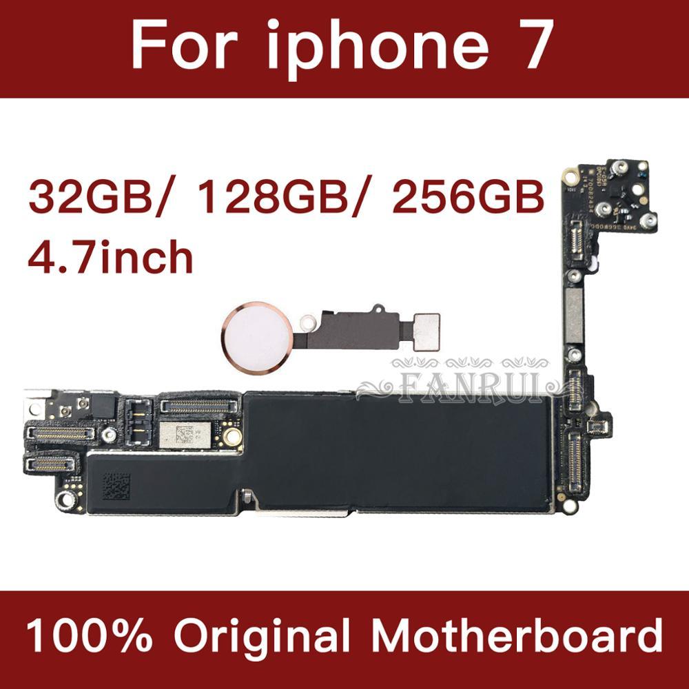 Per il iphone 7 da 4.7 pollici Scheda Madre di Sblocco Mainboard Con Touch ID Funzione Completa 100% Originale IOS Installato Scheda Logica