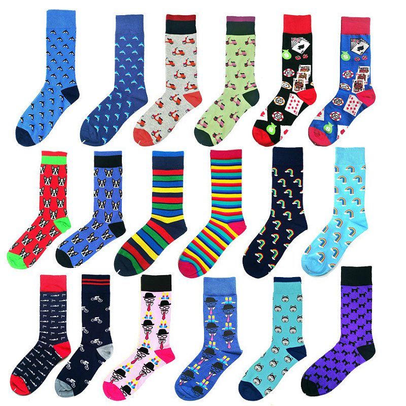 PEONFLY Men Socks Japanese Style Cotton Colorful Cartoon Funny Rainbow Striped Poker Happy Socks Motion Casual Calcetines Hombre