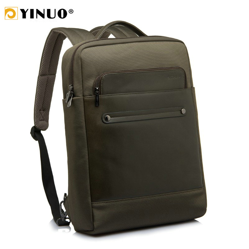 YINUO Fashion Backpack Men Leather Laptop Backpack 13inch 15inch Waterproof Business