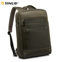 YINUO Leather Laptop Backpack 13inch 15inch Waterproof Men
