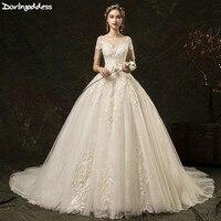 227432951d40c Vintage Lace Appliques Princess Wedding Dresses 2019 Luxury Vestido De Noiva  Short Sleeve Bridal Dress With