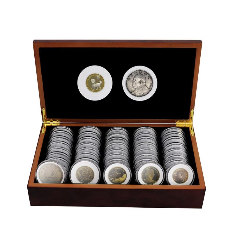 Wood Coins Display Box Case Coins Storage Boxes Jewelry Box Home Storage Organization+mixed 50 18/2125/27/30mm Round Boxes