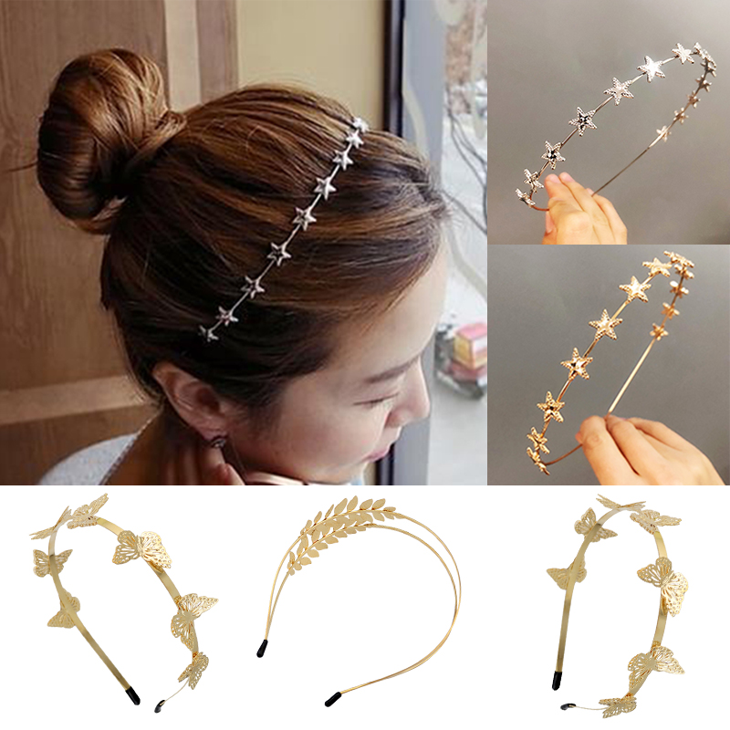 Sale Beautiful Leaf Butterfly Gold Hair Band For Women Unique Star Girls Headband Wedding Hair Accessories Gifts