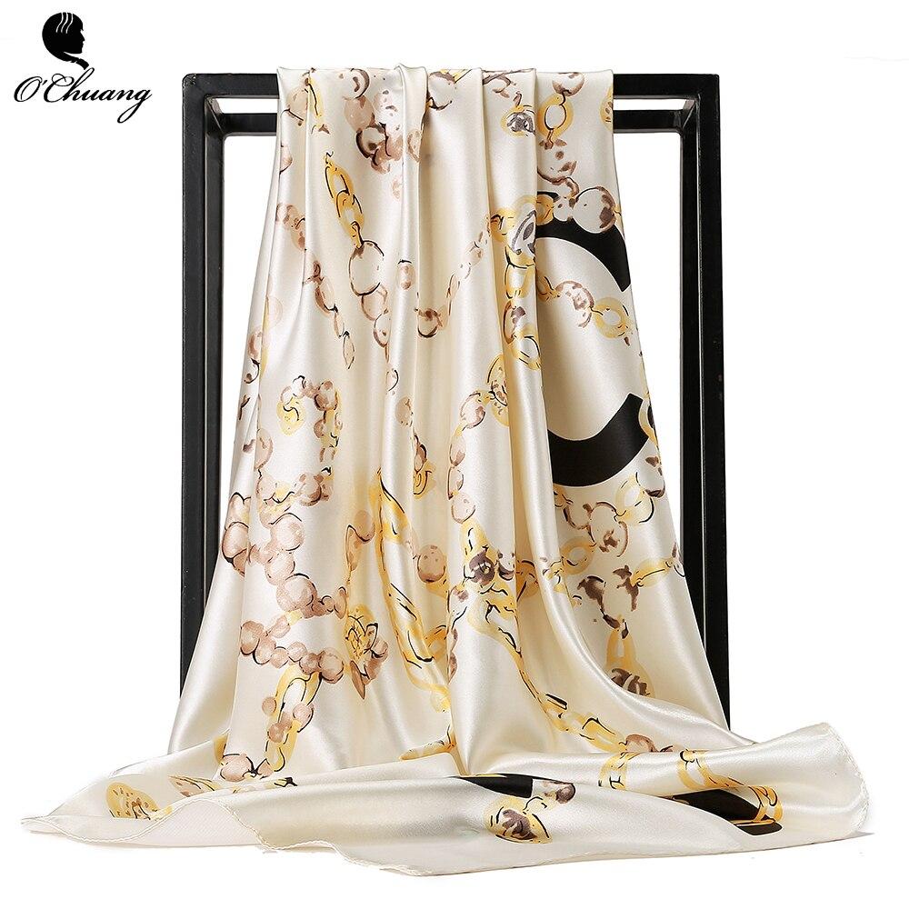 O CHUANG Scarves Women 2018 Fashion Luxury Brand Foulard Soie Shawls For Ladies Hijab Big Square Head Silk Scarf 90*90cm