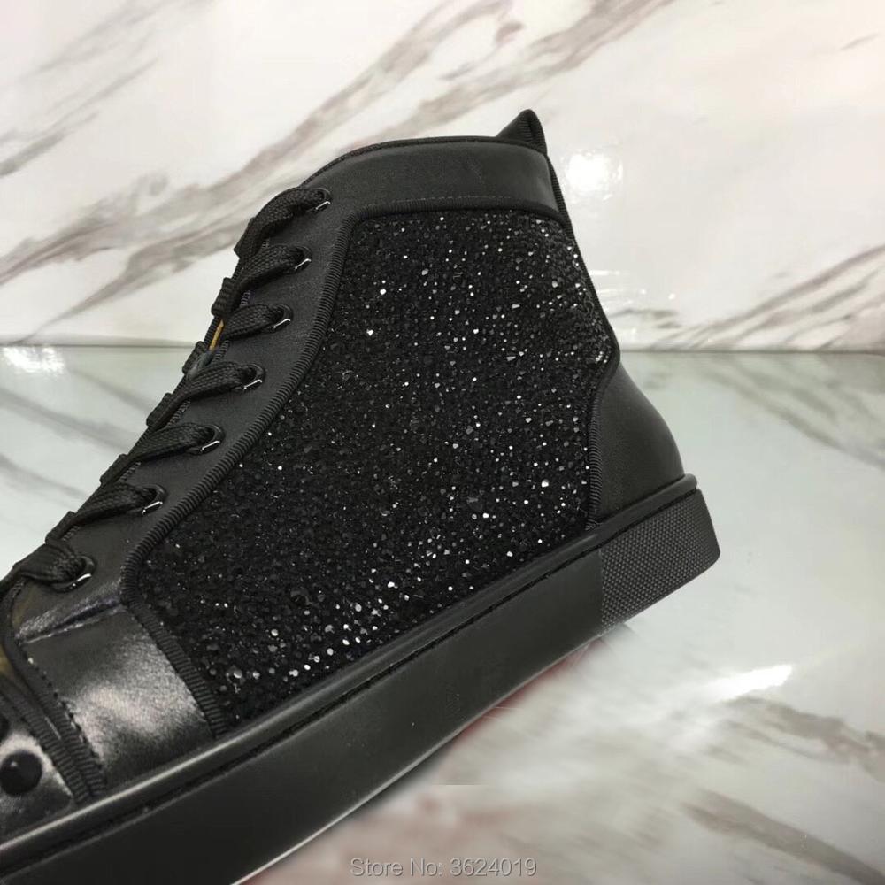 Corte Mocasines Hombre De Imitación Andgz Fondo Diamantes Rojo Rives Zapatos Oro Plana Negro Para Cl Zapatillas Cuero Desordenado Alta awf6da