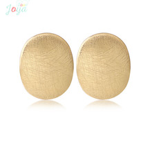 Joya Love Gold Color Stud Earrings Stainless Steel Small Simple Studs Earring Brushed Metallic Jewelry Student Daily Wearing