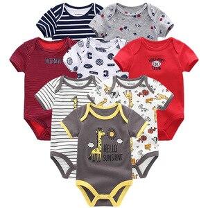 Image 5 - Одежда для маленьких мальчиков, 8 шт./компл., унисекс, комбинезоны для новорожденных девочек, roupas de bebe, хлопковые детские комбинезоны с короткими рукавами, одежда для малышей