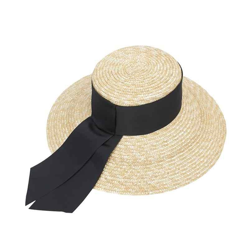 1 قطعة أزياء المرأة اليدوية قبعة من قش الورق واسعة قبعة بحافة قبّعة مسطّحة الأشعة فوق البنفسجية حماية الصيف قبعات للحماية من الشمس شاطئ كاب
