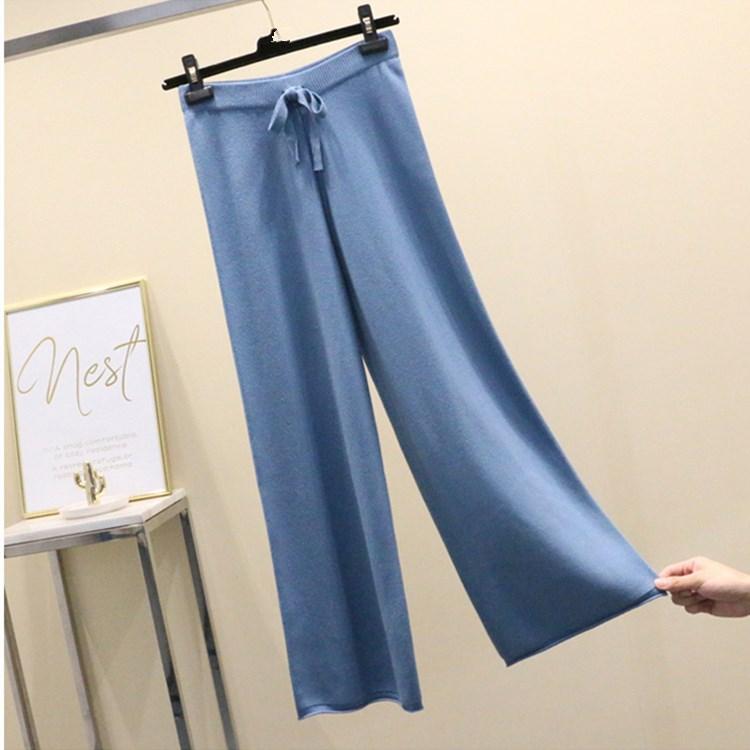 Korean Section Fashion   Wide     Leg     Pants   Autumn Winter knitted Women Trousers Elastic High Waist Loose   Pants