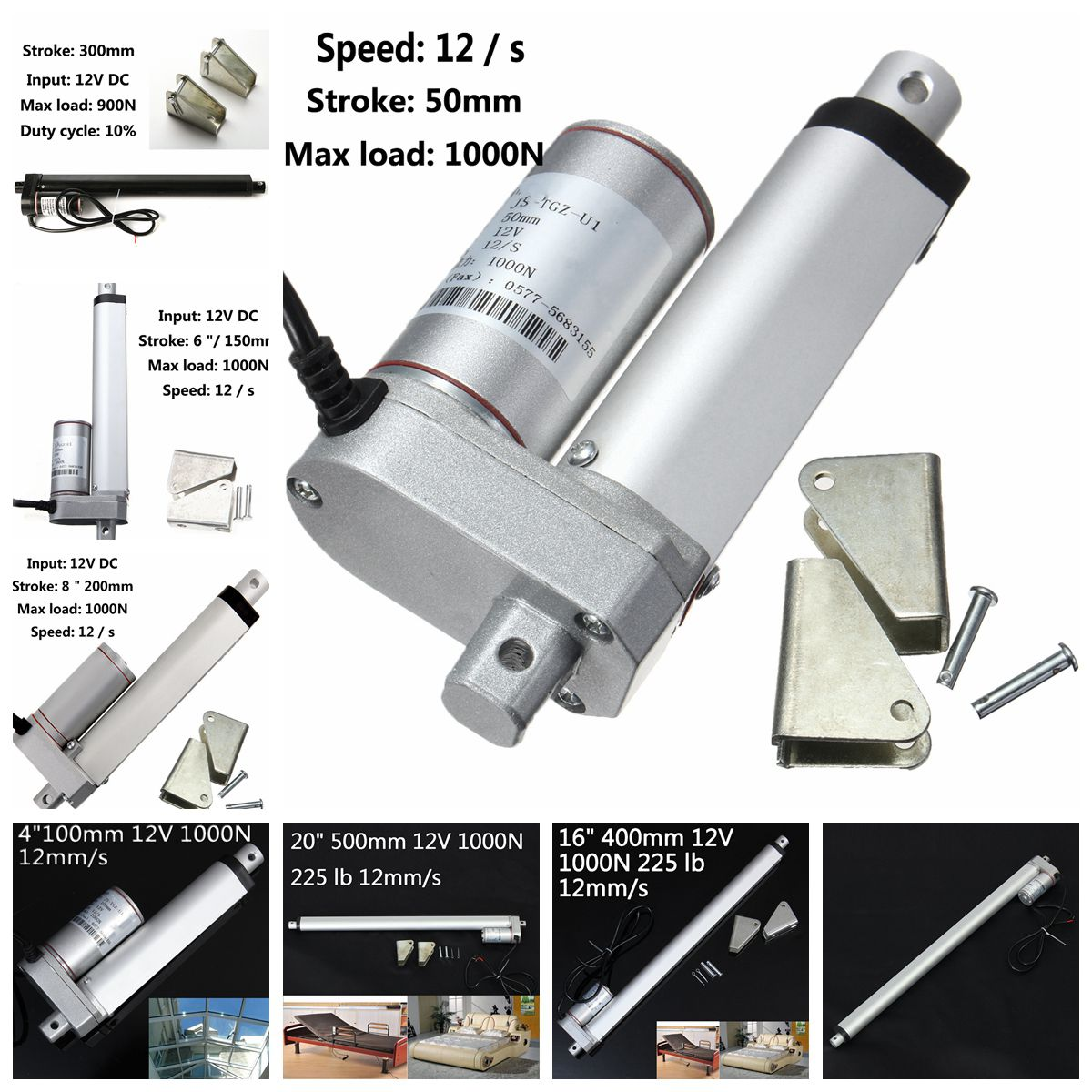 "22/"" Linear Actuator with Bracket Heavy Duty Stroke 12 Volt DC 200 Pound Max Lift"