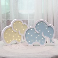INS Woodiness Elephant Baby LED Bedside Lamp Cartoon Nordic Children Room Decorative Lights Lovely Photographic Props Gift Hot