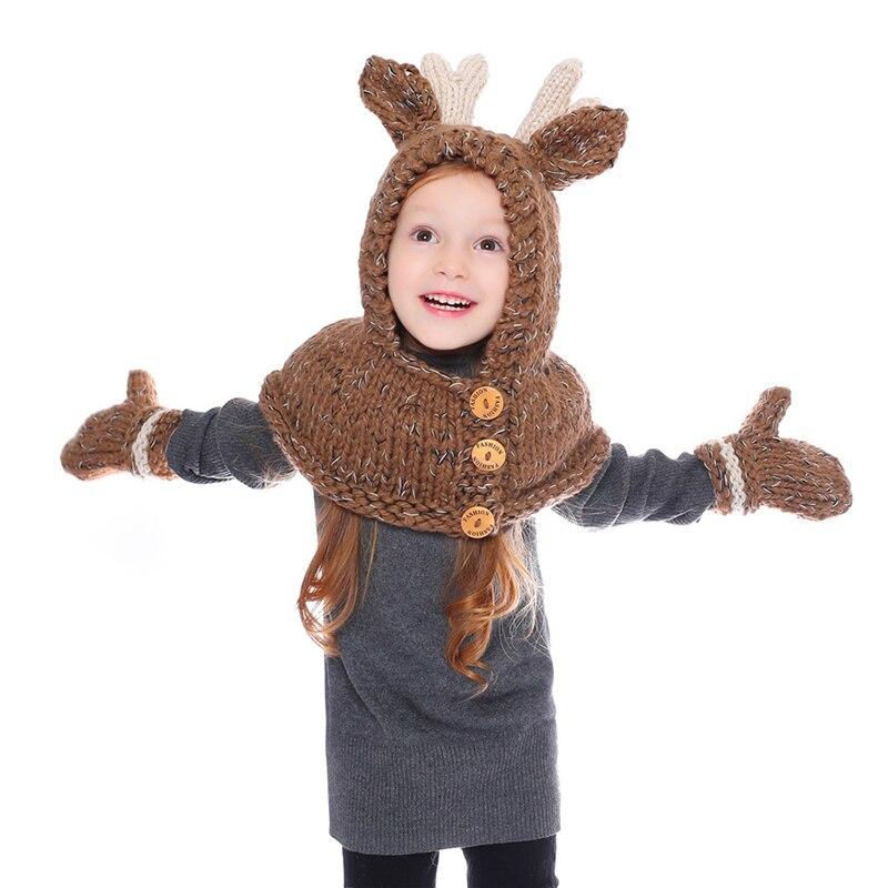 IANLAN New Winter Children Hats Scarves Gloves Girls Cute Reindeer Style Knit Wool Kids Hooded Hat Muffler Mittens Set IL00190