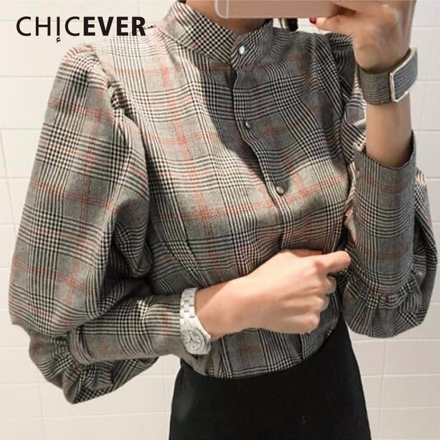 29f68fe633c CHICEVER 2018 Spring Plaid Women Shirt Blouses Top Lantern Sleeve With Bow  Slim Stand Plus Size Shirts Blouse Clothes Fashion