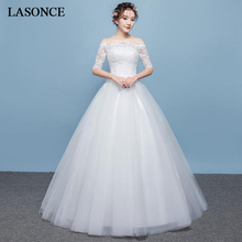LASONCE Elegant Boat Neck Tulle Ball Gown Wedding Dresses Illusion Lace Appliques Half Sleeve Backless Bridal Dress