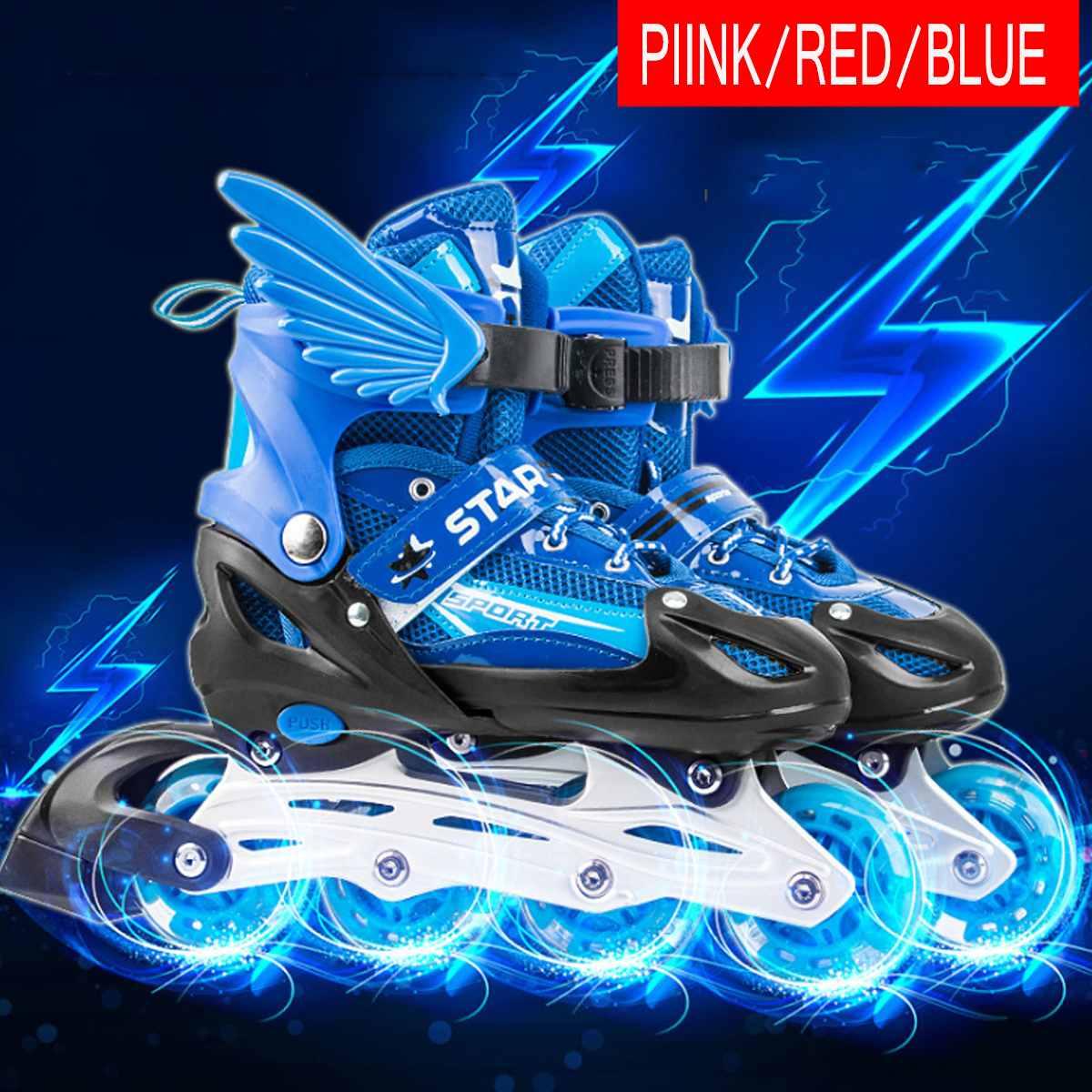 Taille réglable enfants patins à roulettes 4 roues chaussures de patinage patins à roues alignées patins pour filles garçons enfants cadeaux