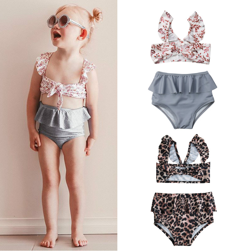 Kids Toddler Baby Girls Summer Clothes Outfits Set Leopard Print Bikini Swimsuit Ruffles Tutu Skirt Beachwear Swimwear