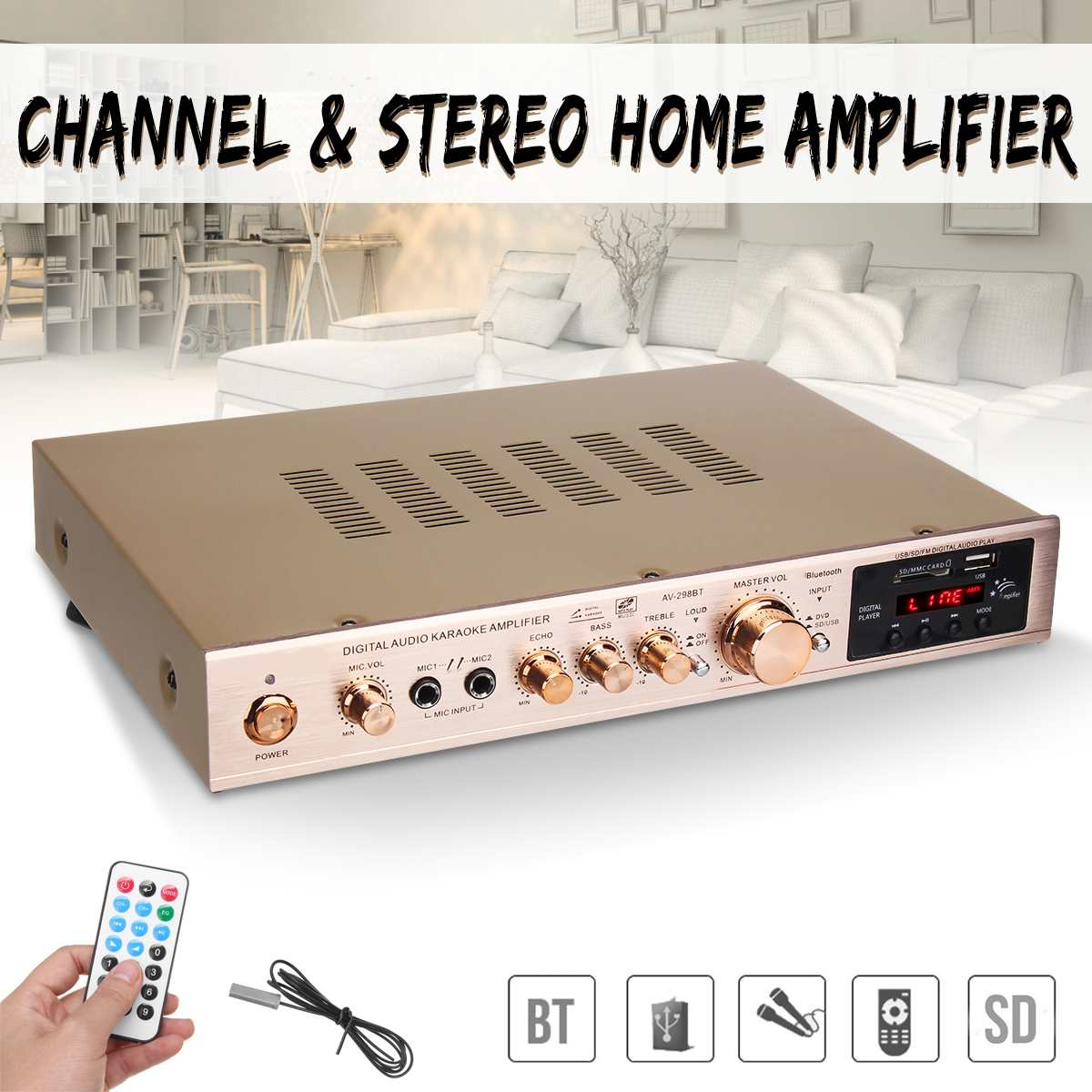 2000W 5 Channel Home <font><b>Amplifier</b></font> Audio Digital Auto Car AV <font><b>HiFi</b></font> Class Power <font><b>Amplifiers</b></font> Stereo Sound FM Radio Player Aluminum Alloy image