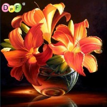 DPF Diy Diamond Painting cross stich Mosaic Crafts Gold Lily 3D Square Drill Rhinestone Pasted Resin Embroidery Needlework