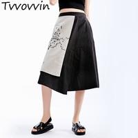TVVOVVIN 2019 Summer New Loose Japan Style Simple Print Irregular Skirt A Line Plus Size Womens Skirt AS500