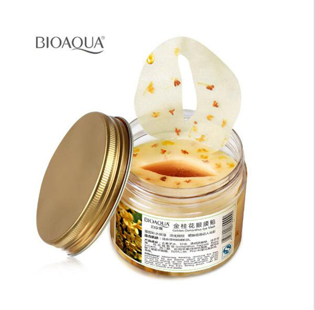 80pcs/bottle Bioaqua Gold Osmanthus Eye Mask Women Collagen Gel Whey Protein Face Care Sleep Patches Health Mascaras De Dormir