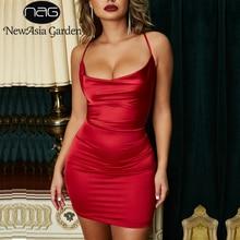 NewAsia Garden Red Satin Dress Women Bodycon Leopard Print Summer Sexy Dresses Party Night Club Wear Mini Vestidos