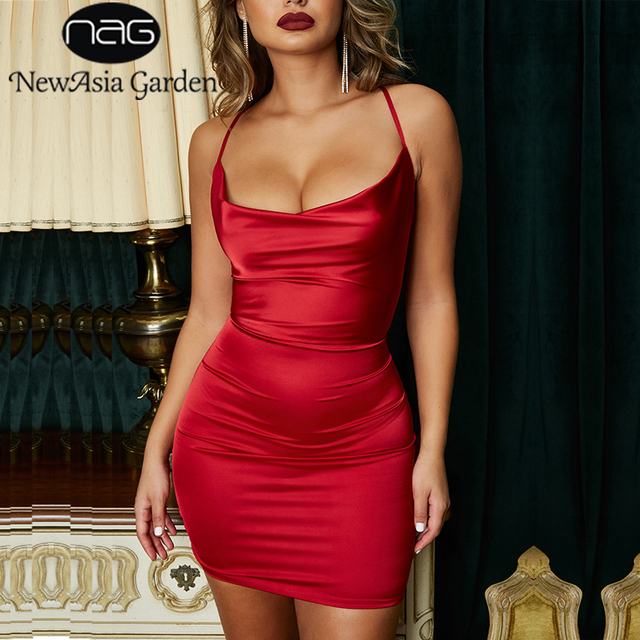 NewAsia Garden Red Satin Dress Women Bodycon Dress Leopard Print Summer  Dress Sexy Dresses Party Night Club Wear Mini Vestidos 306fa4f26d66