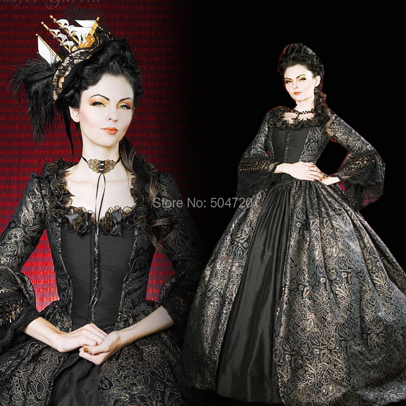 Tailored!Classical Black lace Duchess Queen 16th Medieval Renaissance Gown Era Halloween Retro Cosplay dress all size HL-506(China)