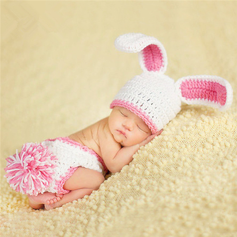 Newborn Photography Props Rabbit Costume Baby Infant Knitted Hat+Pants Set Studio Baby Photo Prop Accessories Crochet Baby Gifts