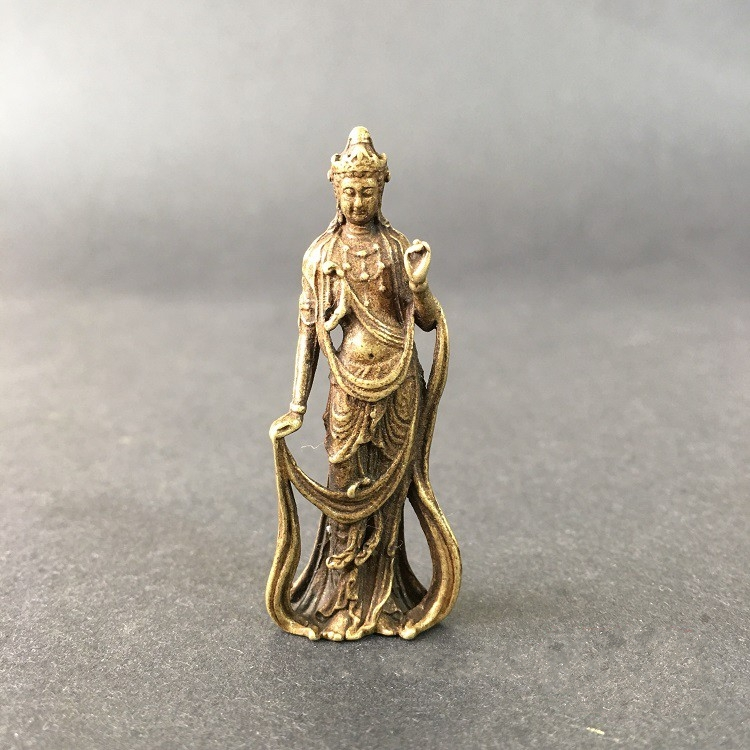 Collectable Chinese Brass Carved Kwan-yin Guan Yin Buddha Exquisite Small  Statues