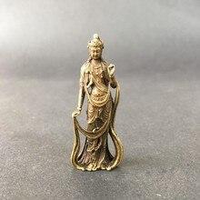Colecionável latão chinês esculpido kwan-yin guan yin buda estatuetas requintadas pequenas
