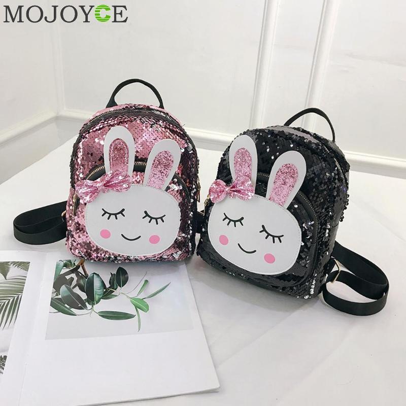 Women Mini Sequins Backpack Cute Rabbit Shoulder Bag For Girls School Bags Ladies Travel Backpacks Children Bagpack Mochila