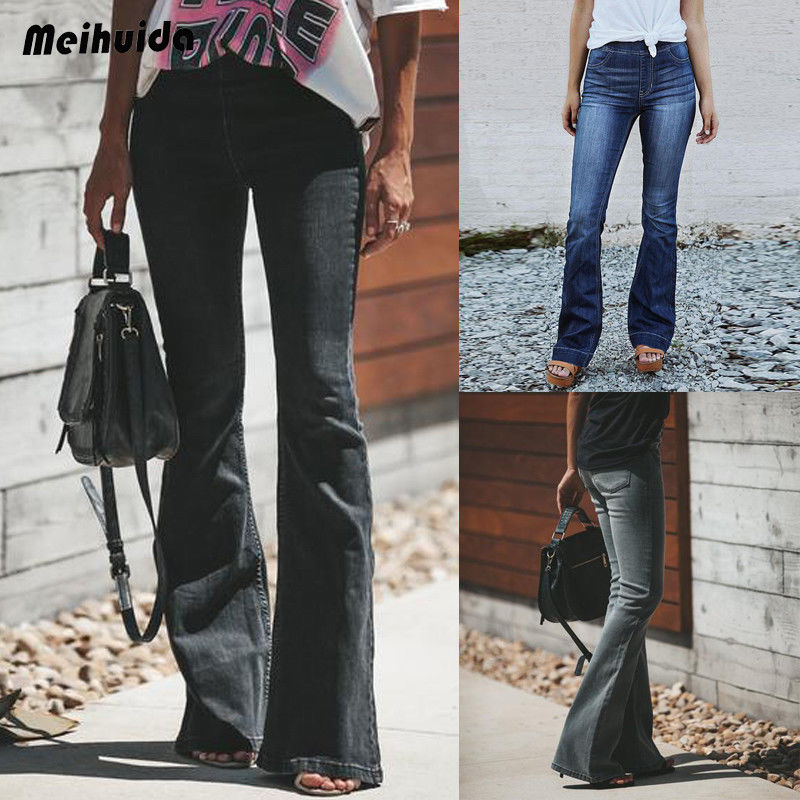 Brand New Womens 60s 70s Blue Faded Bell Bottoms Hippy Denim Flares Wide Flared   Jeans