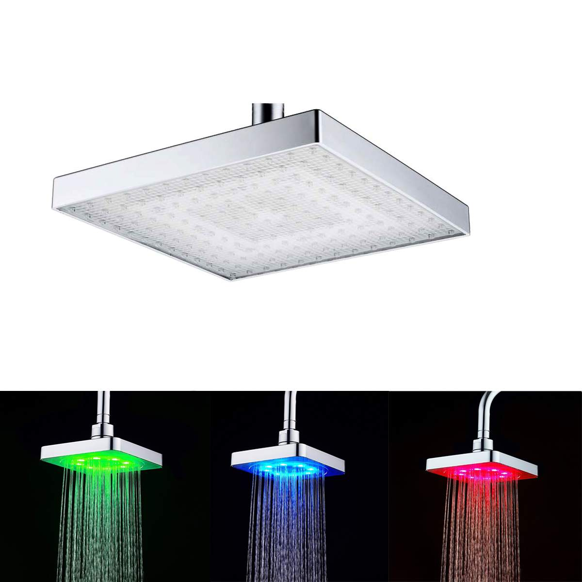 Xueqin 6 Inch ABS Square Rainfall LED Changing Shower Head Bathroom Adjustable Water Flow Spray Temperature Sensor Chrome Finish