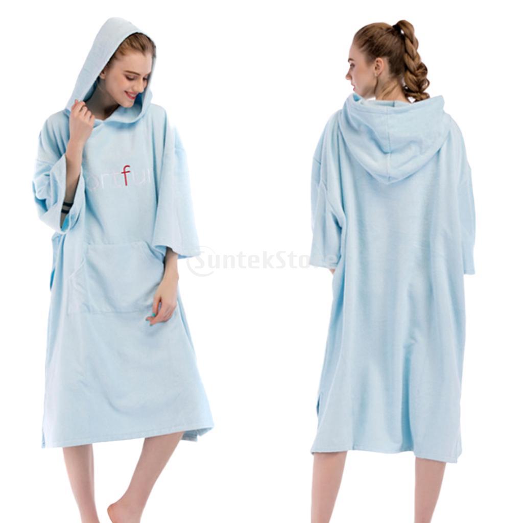 Adult Surf Wetsuit Swim Swimsuit Changing Robe Beach Hooded Poncho Bath Towel Outdoor Sports Women Men Bathrobe W/ Large Pocket