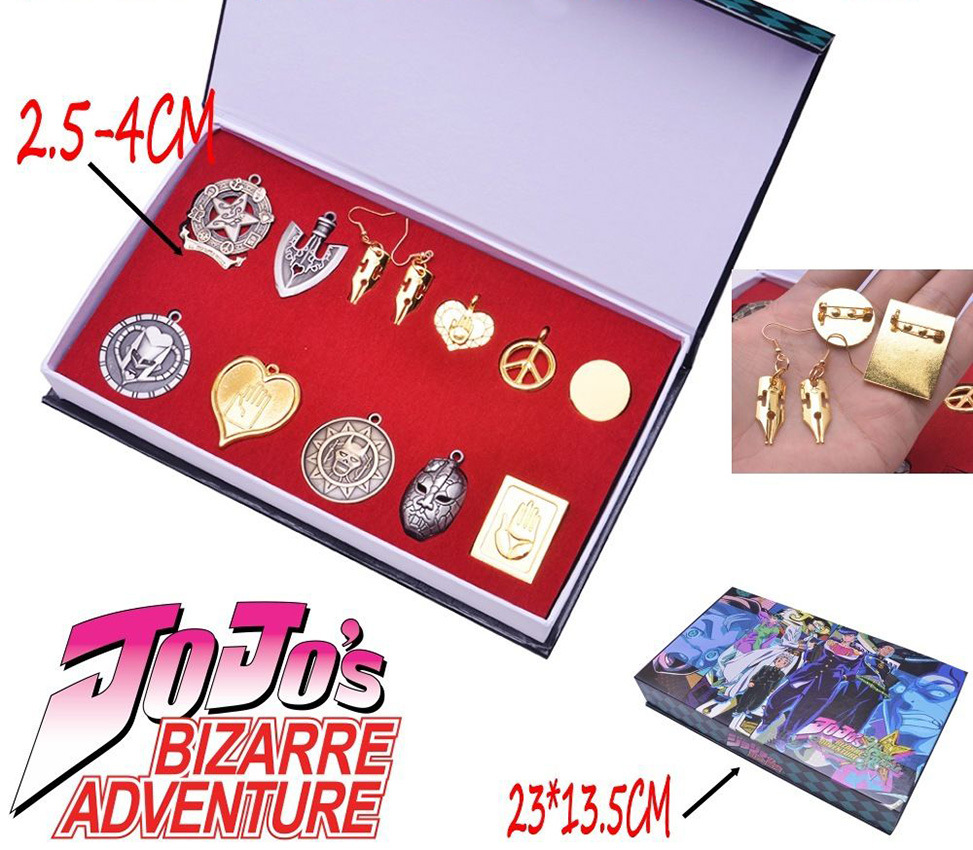 ohcomics 12pcs/set  Anime JoJo's Bizarre Adventure JOJO Badge Pins Earring Necklace+Keychain+Box KeyRing Pendant Collection Gift
