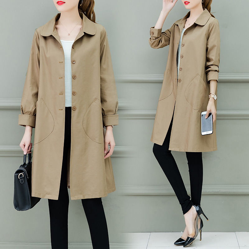 Women   Trench   Coat 2019 Spring Autumn New Fashion Female Loose Long Thin   Trench   Office Lady Wind breaker Business Outerwear Tops